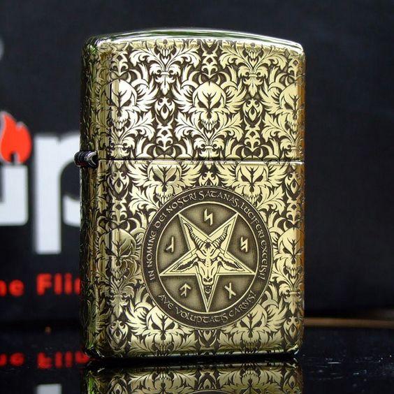 New Etching Brass Armor Full Engraved Son of Satan Zippo Lighter