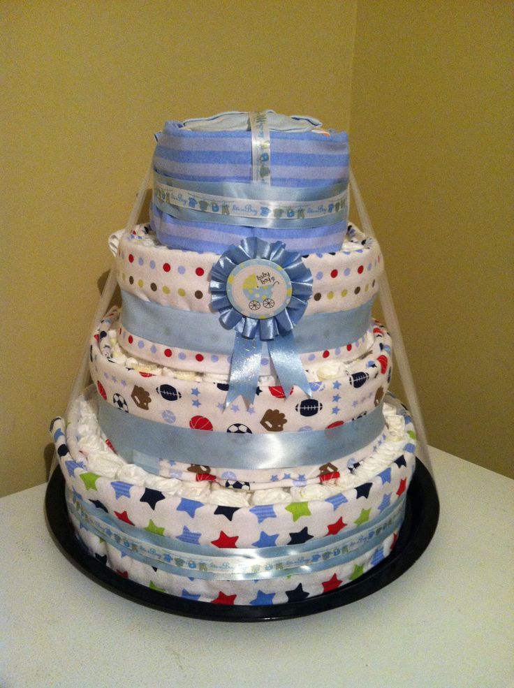 Diaper Cake For Boy Rolled Diapers Around A Bottle Bank