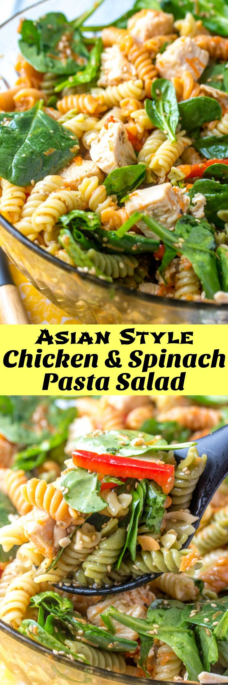 Asian Style Chicken & Spinach Pasta Salad | This Asian Style Chicken Spinach Pasta Salad, tossed in a sesame oil and soy sauce-based dressing, is a refreshing, Asian-inspired side dish perfect for picnics.  This is great for lunch, a light main meal, or even a supper-time side dish. Serve it for the family, or make it ahead for your next barbecue. | 4 Sons 'R' Us