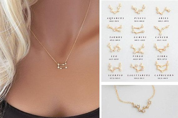 Constellation Necklace Cz Celestial Birthday Gift Simple Etsy Cute Necklaces For Girlfriend Simple Necklace Constellation Necklace