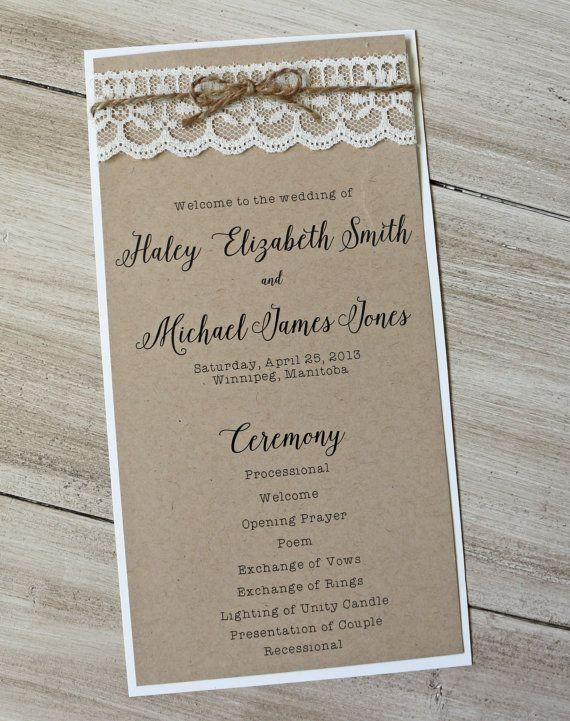 Rustic Wedding Program Lace Wedding Wedding by LoveofCreating
