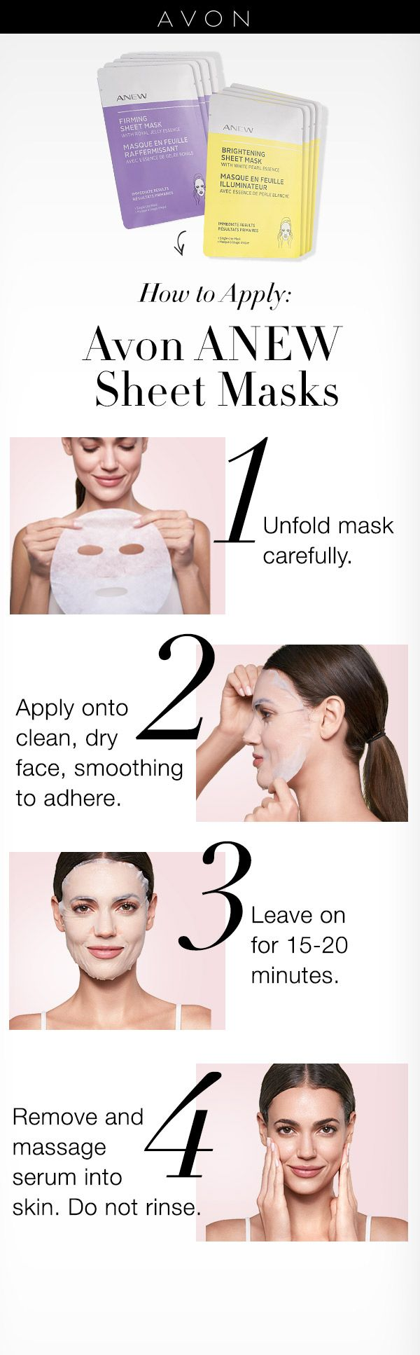 How to apply Avon ANEW Sheet Masks