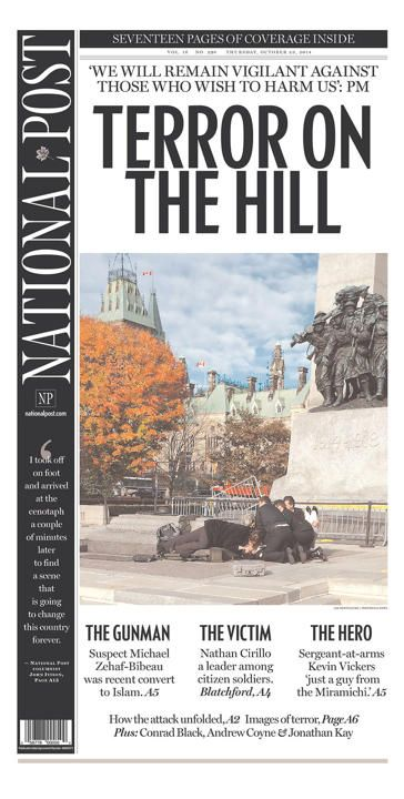 Front pages from around the world: While the Ottawa shooting was front page news all across Canada on Oct. 23, 2014, it also featured prominently in front page news around the world.