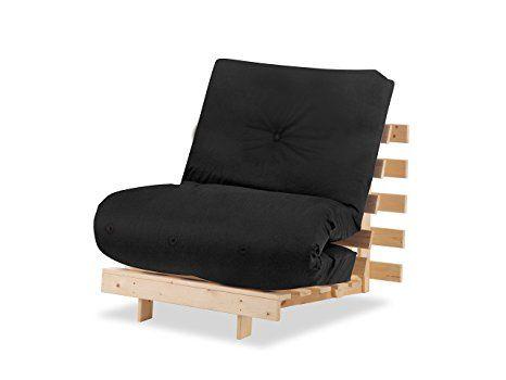 Humza Amani Wood Luxury 1 Seater Metro Futon Sofa Bed Frame with Futon Mattress Set - Black