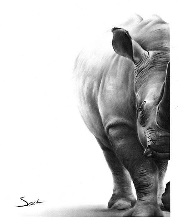 RHINO ART PRINT rhino print rhino wall art black by SignedSweet. For more Wildlife Art visit www.inxswildlife.com