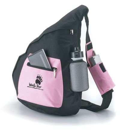 The Performance Collection. Fashionable and sporty.  Features: cell phone holder on adjustable shoulder strap,front zippered pocket and mesh holder with water bottle.