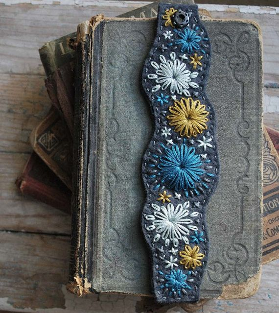 Felt Bracelet Hand Embroidered Slate Blue Felt by lovemaude