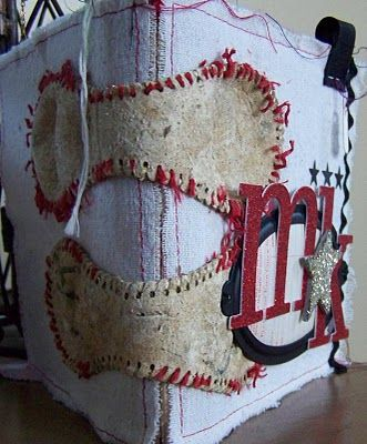 Such an adorable idea for binding a baseball album!