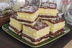 receita de bolo gelado de leite Ninho® com Nutella®, cortado em pedaços e mostrando as camadas de recheio.