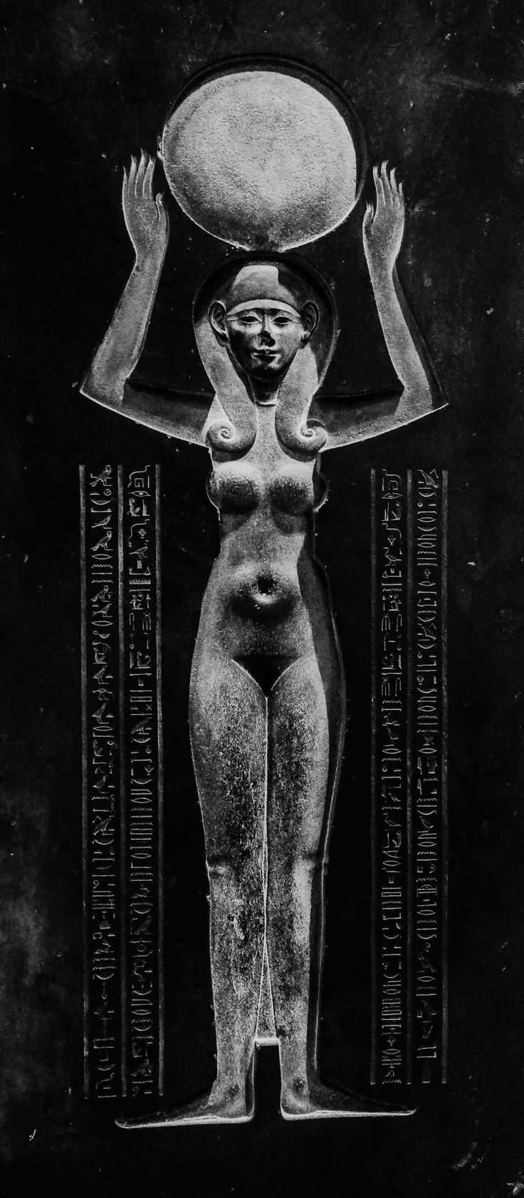 Sarcophagus Cover of Djedhor showing the Egyptian Goddess Nut (Goddess of Heavens and Sky, representing Resurrection) raising the Sun, 305 BC. Nut was the Goddess of the Sky and all Heavenly bodies, a...