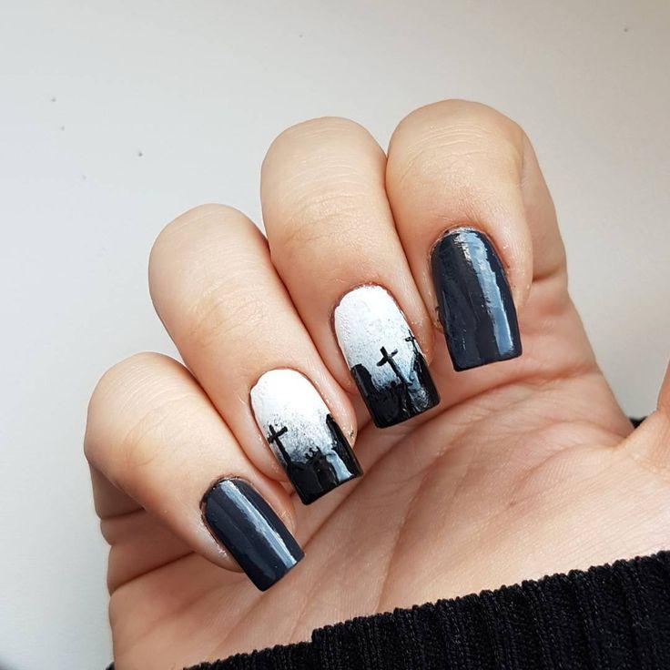 Domi Králiková (@domi_nailart) Graveyard #graveyard #halloween #cemetery #halloweennails #autumncolours #blackandwhite #ombrenails #scarynails #darknails #nailart #nails #nailartist #nailartideas #nails #pin #pinit #pinteresting #dominailart #blacknails #myownnails #natural nails #follow #followmenow #follownails #pinitnow