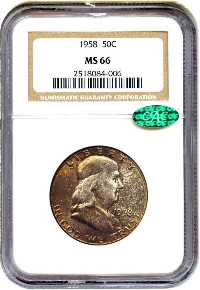 Enter To Win A 1958 Franklin Half Dollar 50 Cents Ngc Ms 66