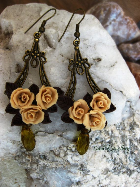 flower polymer clay earrings, polymer clay jewelry