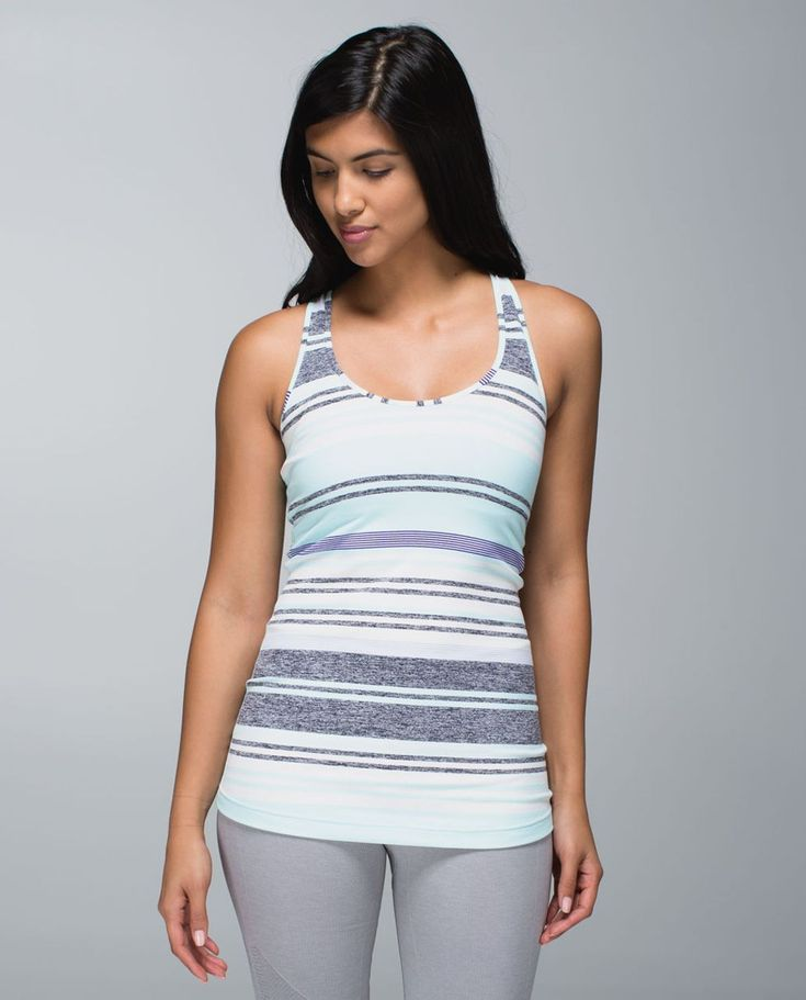 Release Date: 5/2014. Original Price: $42. Materials: Luon Light. Color: groovy stripe static wave cadet blue. Why we made this We like to mix it up when we sweat and we love a tank that can handle it all. We left the shelf bra out of the equation and used Light Luon fabric with four-way stretch so we stay covered and comfortable during hard workouts. The long length means we can focus on our back bends and burpees without tugging on our tank.Key features a lightweight version of ou...
