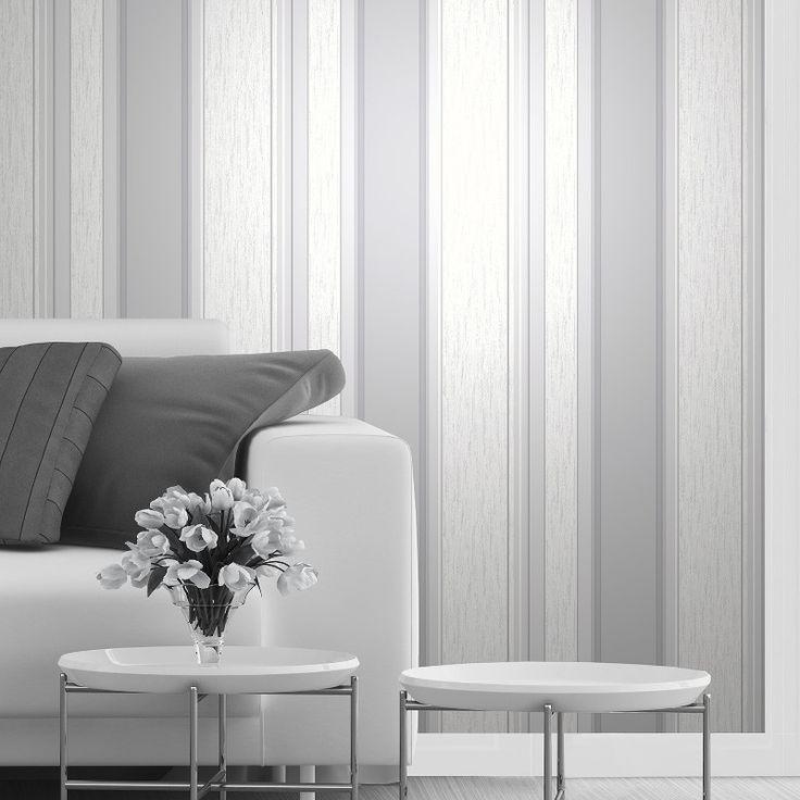 Vymura Synergy Glitter Stripe Wallpaper in Dove Grey and Silver - http://godecorating.co.uk/vymura-synergy-glitter-stripe-wallpaper-dove-grey-silver/