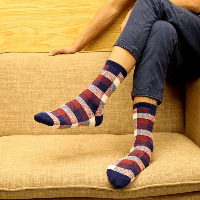 HX065  6515 New Autumn Winter Cotton Men Socks Wholesale Korean Classic Plaid Sock