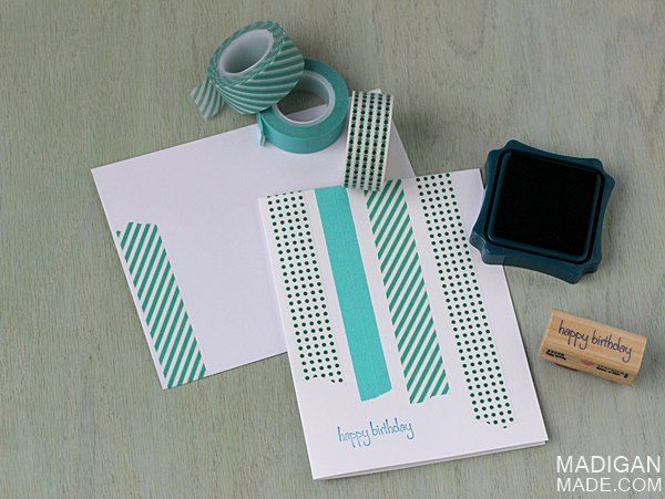 The Simplest DIY Washi Tape Cards ~ Madigan Made { simple DIY ideas }