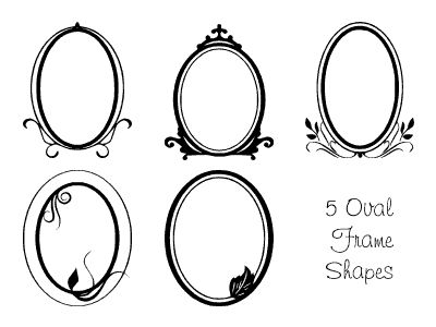 Five Free Oval Frames - Photoshop Preset and PNG Files: Oval Frames Custom Shapes Set