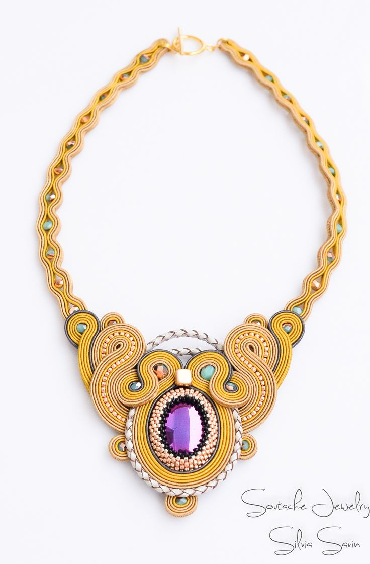 Unique handmade soutache necklace