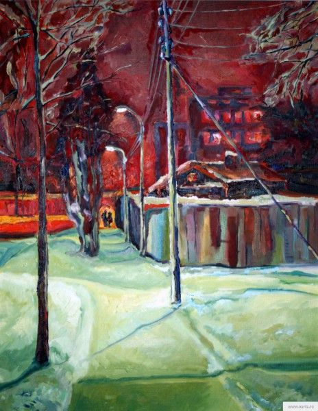 """""""Winter Night"""" painting picture / photoЗимняя ночь холст/масло"""