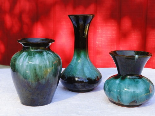 Blue Mountain Vases Set Of 3 Flow Green Canadian Pottery Drip Glaze Glass Pottery Porcelain