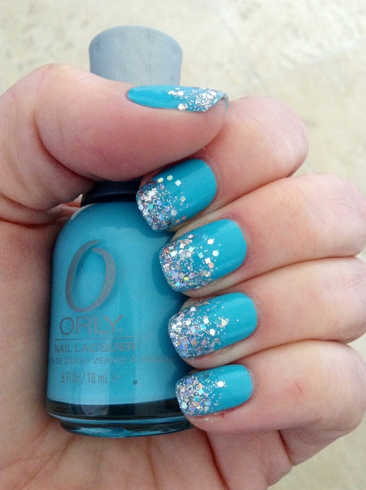 Nails • Turquoise with irridescent silver glitter tips ...