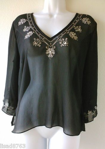 Daisy Fuentes Moda SZ L Top Sheer Black V Neck Silver Embroidered Bling Shirt