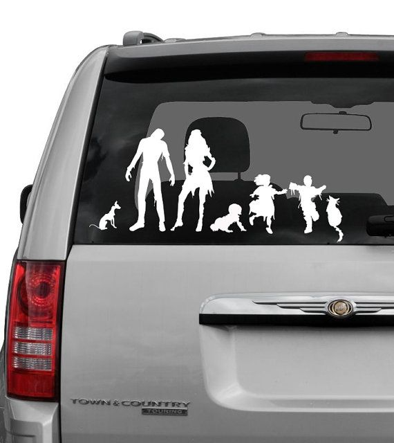 Zombie family decal with pets and a baby 3