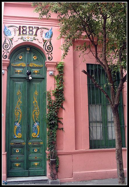 Door with fileteados Buenos Aires by tangobabe1, via Flickr