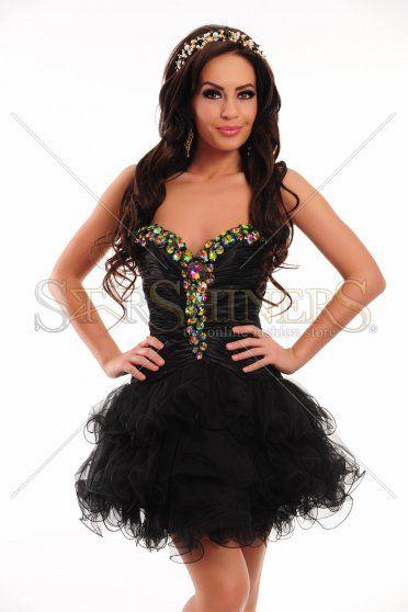 Rochie Sherri Hill Cristal Glow Black