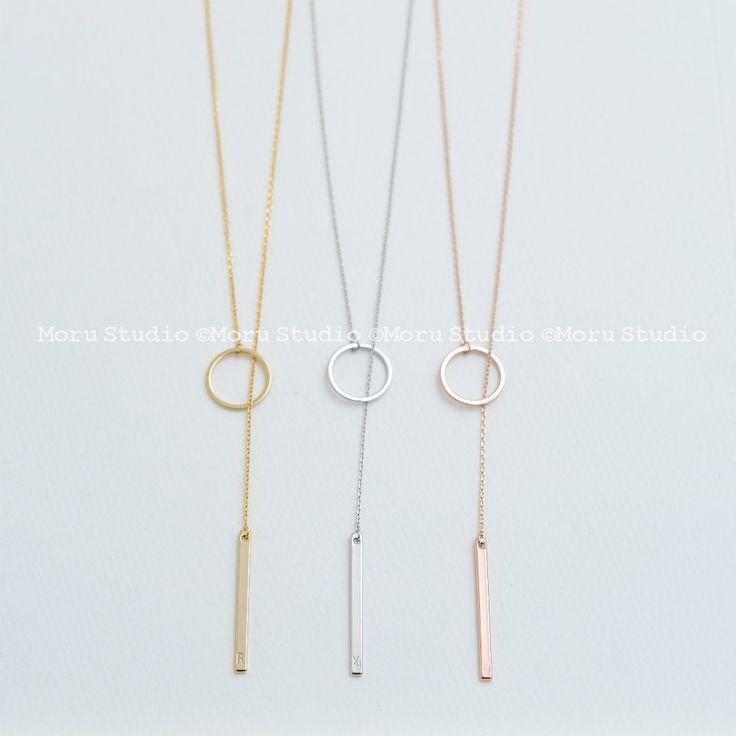 Custom Bar Drop Necklace, Lariat Necklace, Drop Ring Necklace, Y Necklace, Long…