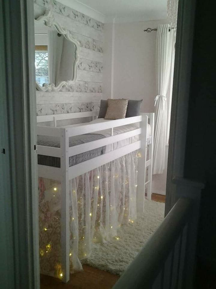 Cute idea for a little girls room. With a mid sleeper, lace and fairy lights