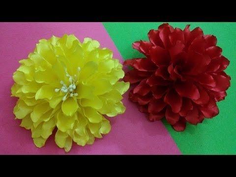 DIY Kanzashi flower,ribbon flower tutorial,how to,easy,kanzashi flores de cinta - YouTube