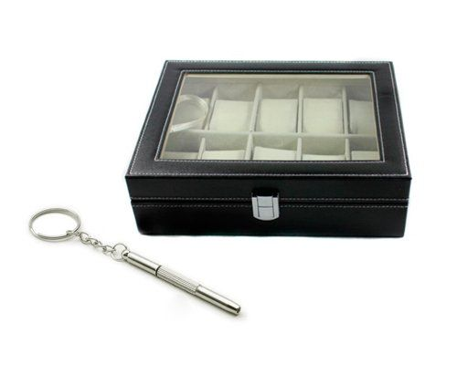 Shopready Watch Storage Box 10/12 Slot Black Leather Watch Display Case Glass Top Organizer Free Screwdriver - http://www.jewelryfashionlife.com/shopready-watch-storage-box-1012-slot-black-leather-watch-display-case-glass-top-organizer-free-screwdriver/