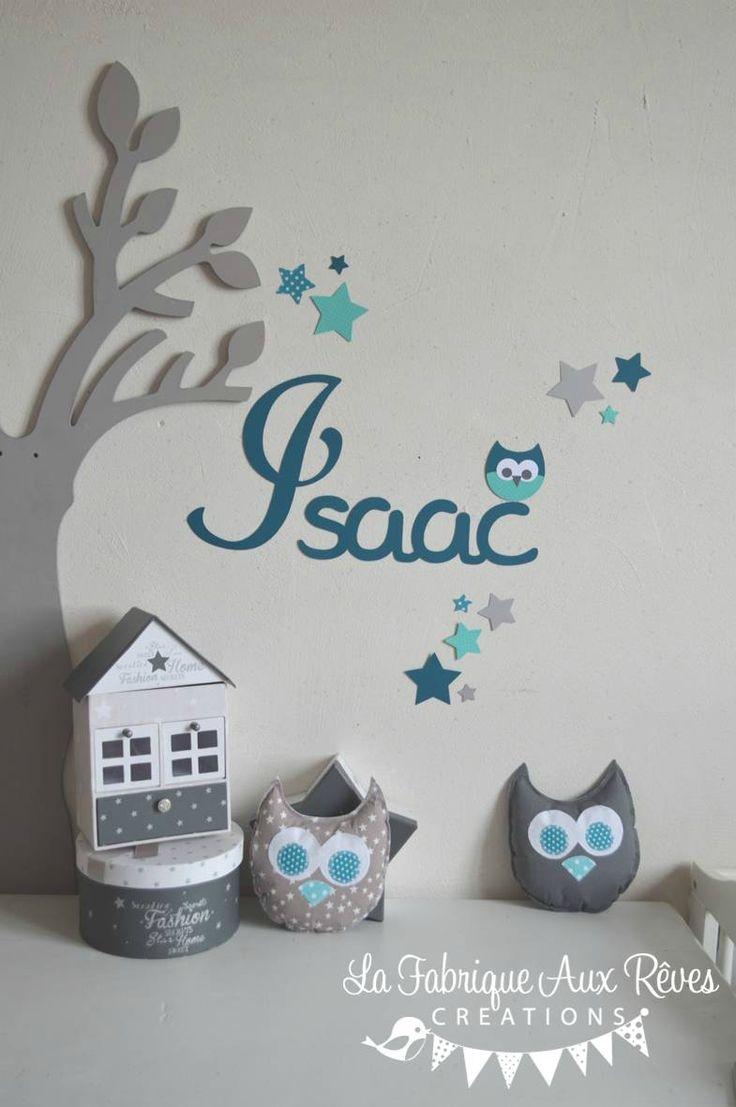stickers prénom garçon pétrole turquoise hibou étoiles - décoration chalbre bébé garçon turquoise pétrole gris