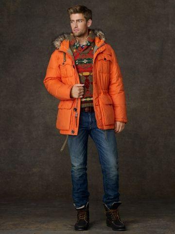 Ralph Lauren Rustic Hooded Parka In Orange