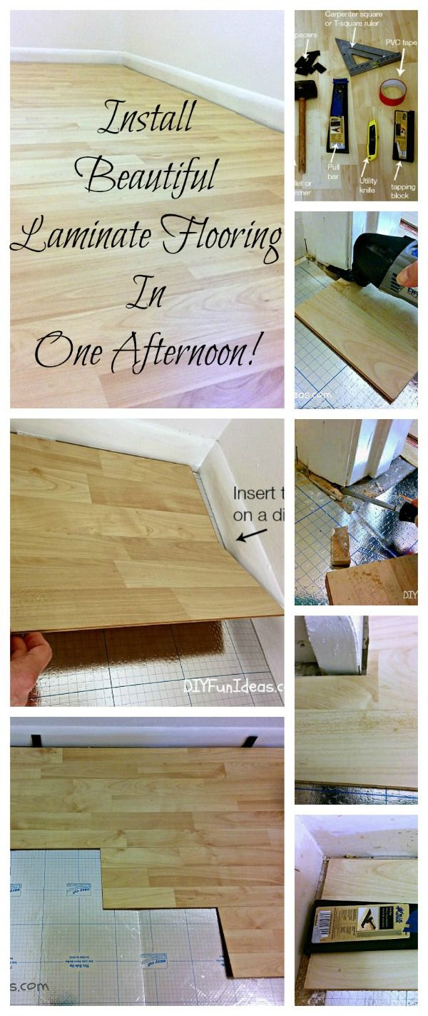 HOW TO INSTALL BEAUTIFUL LAMINATE FLOORS IN ONE AFTERNOON! Easy step-by-step tutorial with lots of pictures to easily follow. Save hundreds $$ by doing it yourself!