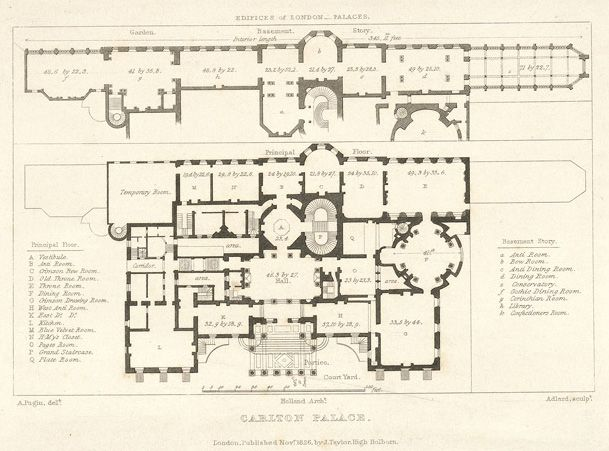 Carlton House  Plan showing the main floor and the suite of reception rooms on the lower ground floor