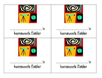 star or space theme homework folder labels