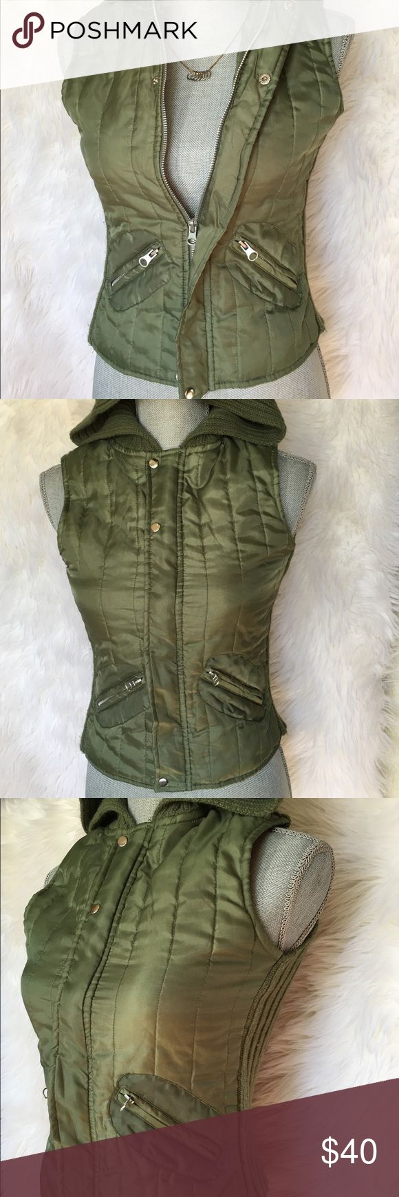 Derek Heart green zip up vest with Pockets Women's Green Zip up vest with silver metallic buttons and front pockets, stretchy material and has a hoodie  size Small Derek Heart Jackets & Coats Vests