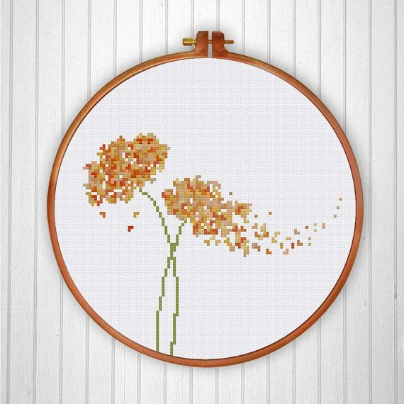 2 Flowers cross stitch pattern modern cross stitch от ThuHaDesign