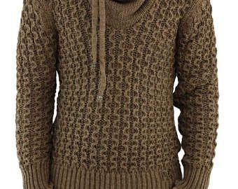 HECHO para cuello redondo de los hombres mano de los hombres de cuello alto suéter de punto a hombres de suéter cardigan suéter de los hombres hechos a mano de la ropa que hace punto aran cableado