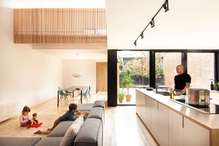 Built by la SHED architecture in Montreal, Canada with date 2015. Images by Maxime Brouillet. Located in the heart of the Villeray district, the De Gaspé House project consisted of the major renovation of an exi...