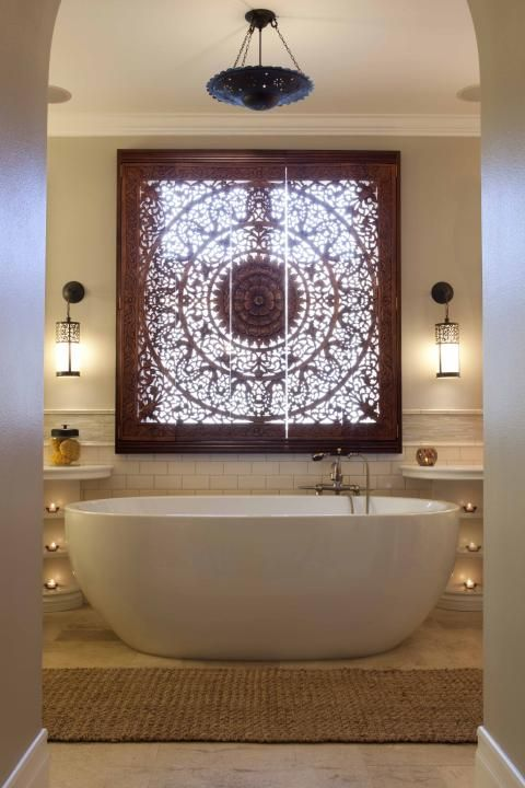 Transitional Bathroom with elaborately detailed wood window covering -  Love the wooden screen as the window cover.  Art, provides light,and privacy.