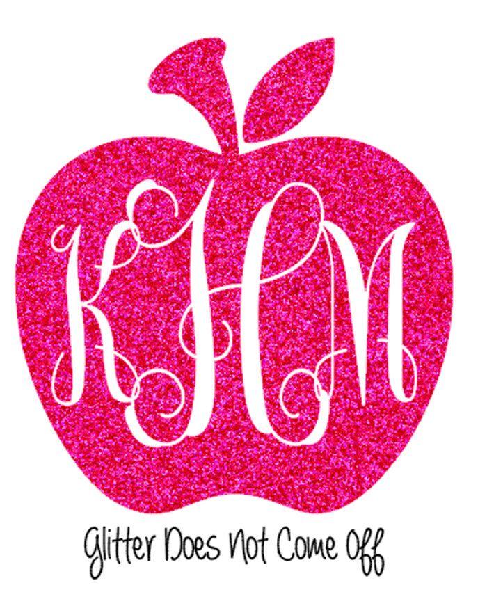 Glitter Apple Monogram Car Decal, Window Sticker, Teacher Gift by VinylDezignz on Etsy https://www.etsy.com/listing/198186909/glitter-apple-monogram-car-decal-window