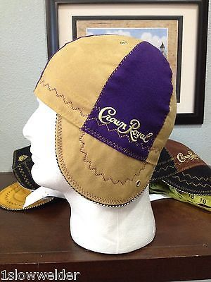 "Welding Cap 'Tan Suede and Purple' Any Size "" Crown Royal "" IBEW UA 