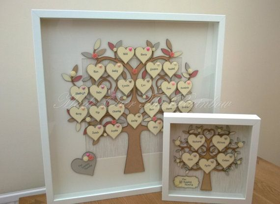 Handmade Personalised Extra large Family Tree Frame - The box frame encases a beautiful wooden tree with wooden hearts placed throughout, stamped with all your families names. A larger heart can be placed with you surname or any personalised wording, eg The Carter Family Our Family, Happy 40th Birthday Happy Wedding Day OUR GRANDCHILDREN etc **ANY AMOUNT OF HEARTS ARE INCLUDED IN THE PRICE, AS LONG AS THEY FIT** The hearts and Tree can be Painted in any colour to suit your decor and the…