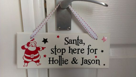 Custom Hanging Wooden Plaque Santa Stop Here. by ColwellDesign, £5.00