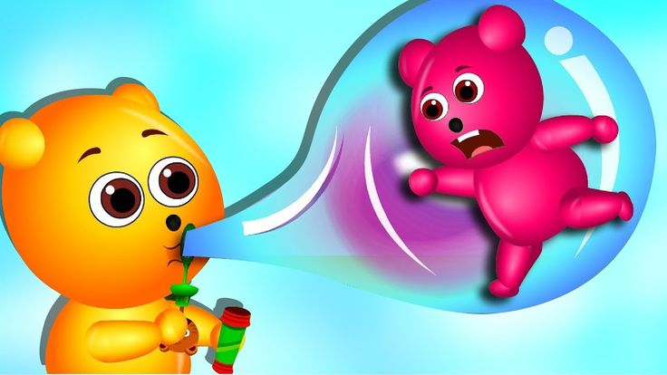 Mega Gummy bear blowing giant bubbles got stuck finger family rhymes for...