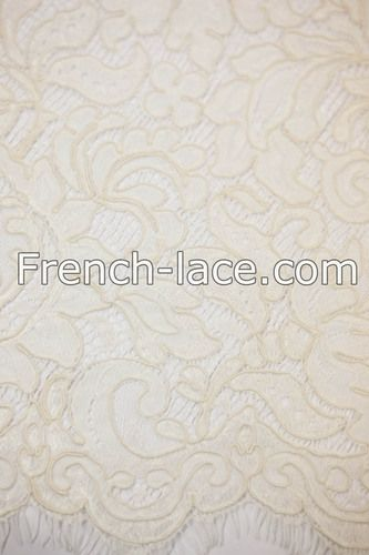 Beaute 100 E naturel $552 Corded Guipure lace fabric of natural color. Elegant and pure.